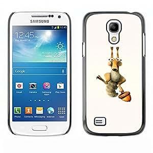 Caucho caso de Shell duro de la cubierta de accesorios de protección BY RAYDREAMMM - Samsung Galaxy S4 Mini i9190 - Ardilla divertida y Tuerca