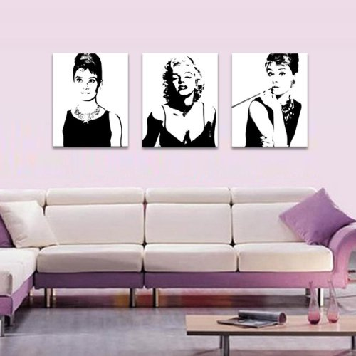 Monroe Art Marilyn Canvas (LightInTheBox Audrey Hepburn Stretched Canvas Print Marilyn Monroe Star Home Decoration Arts)