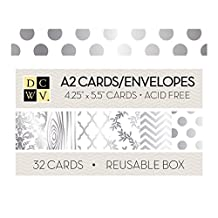 "Dcwv Boxed A2 Cards W/Envelopes (4.375""X5.75"")-White W/Silver Foil 32/Pkg"