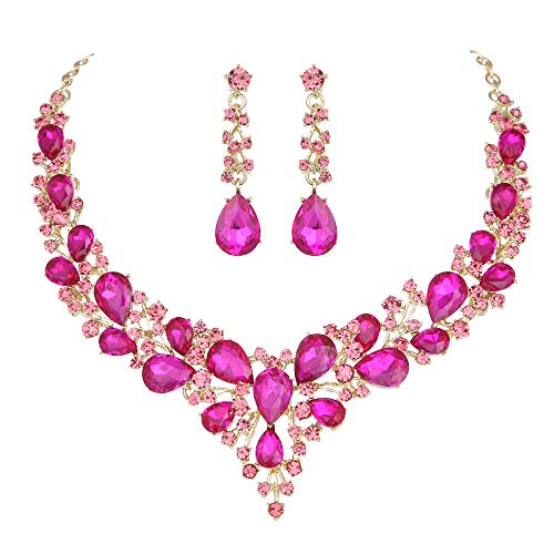 Youfir Bridal Austrian Crystal Necklace and Earrings Jewelry Set Gifts fit with Wedding Dress (Rose ()