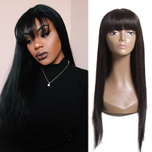 Nadula 7A Hot Straight Hair Wigs Brazilian Virgin Human Hair Straight Glueless Machine Made Wig For Everyone 12-22inch 130% Density Natural Color (22inch) (Wig Cap Full Hair Type)