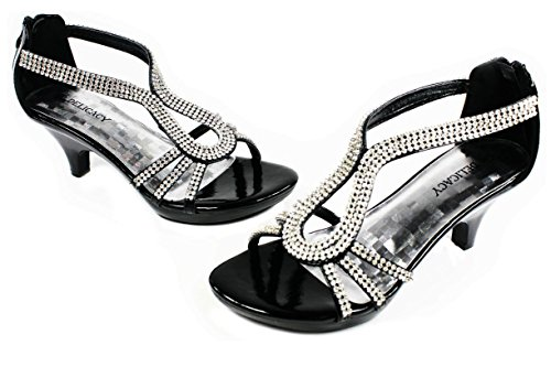 Donne Strass Strappy Open Toe Tacco Medio Abito Da Sera Sandalo Pumps Black_a-36