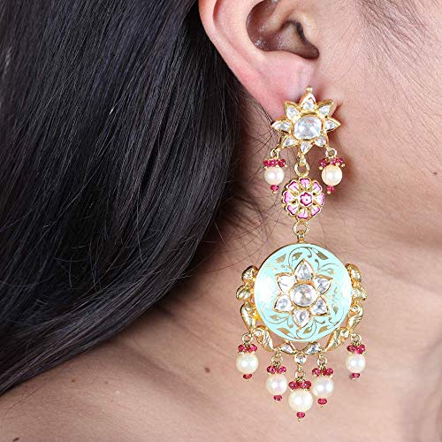 Solid 22K Yellow Gold Natural 3.52 Ct. Polki Diamond Pearl Ruby Foral Designer Kundan Meena Earrings Handmade Vintage Style Jewelry ()