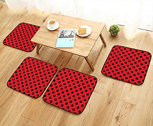 Leighhome Elastic Cushions Chairs Black Retro Vintage Pop Art Theme Old 60s 50s Rocker Inspired Bold Polka for Living Rooms W29.5 x L29.5/4PCS Set