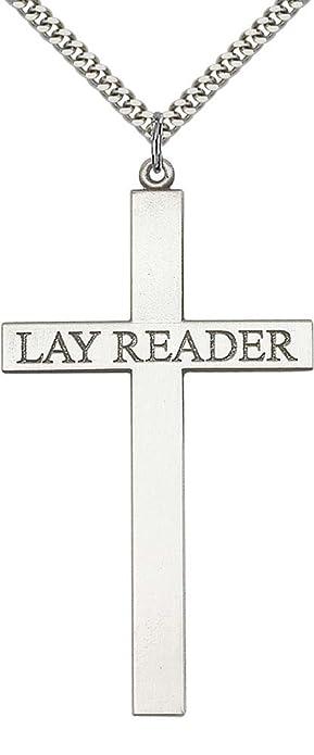 ed613b5c06a3 Plata de Ley Lay lector Cruz colgante con cadena de eslabones de acero  inoxidable