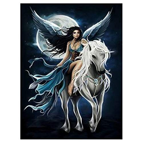 LIPHISFUN DIY 5D Diamond Painting by Number Kit for Adult, Full Round Resin Beads Drill Diamond Embroidery Dotz Kit Home Wall Decor,30x40cm,Moon Fairy Horse