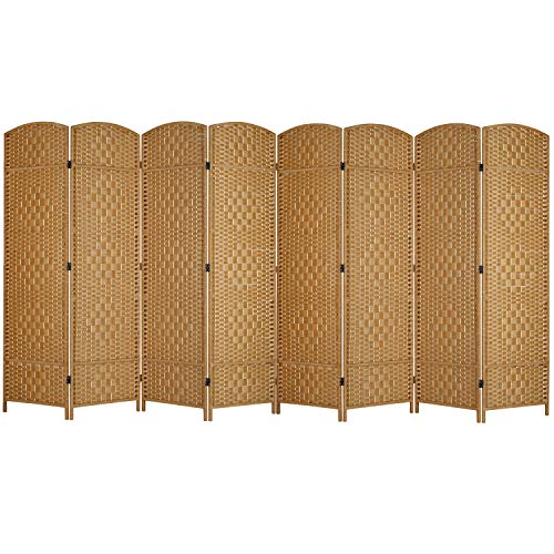 MyGift 8-Panel Handwoven Bamboo Room Divider with Dual-Action Hinges, Beige