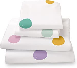 Colorful Pink, Seafoam Teal, Yellow, Purple and Gray Polka Dot Twin Size 3 Pieces Sheet Set, Soft Sheets for Deep Mattresses