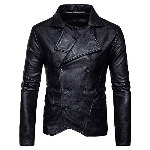 Men's Coat for Men's Solid Lapels Slim Imitation Leather Double-Breasted Coats,Pea Coat ()