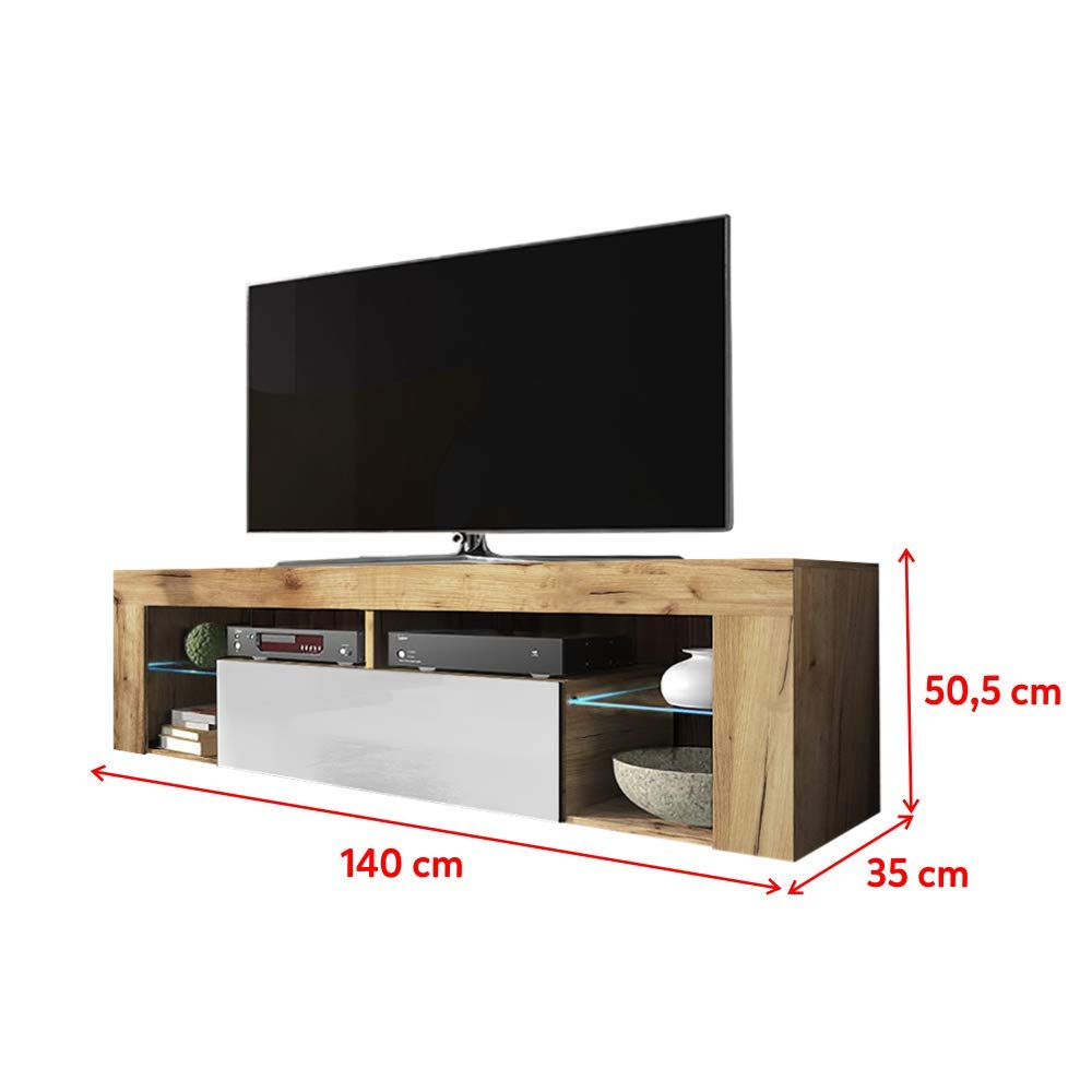 140 cm, Chene Lancaster//Blanc Brillant, avec LED Selsey Hugo Meuble TV//Banc TV