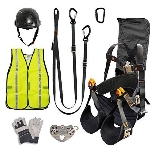 Fusion Climb Pro Backyard Zip Line Kit Harness Lanyard Trolley Carabiner Helmet Vest Glove Bundle FK-A-HLTCHVG-30