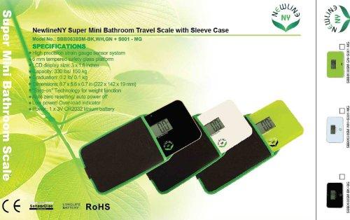 NewlineNY Step-on Super Mini Smallest Travel Bathroom Scale with Protection Sleeve: SBB0638SM-BK (Black) + NY-SMS-S001-BG by NewlineNY (Image #8)