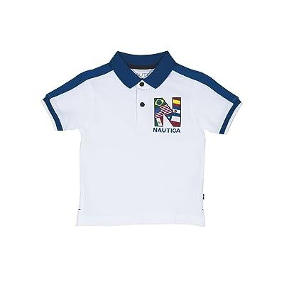 Nautica Little Boys' Short Sleeve Colorblock Deck Shirt,White,X-Large/7X