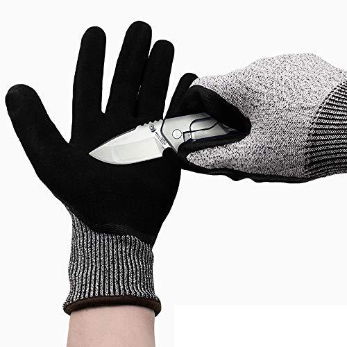 カットプルーフ手袋高度な冬のワークグローブ - ウールライニング、黒のタイトなグリップパーム(低温)SNTAPVC (Size : L)