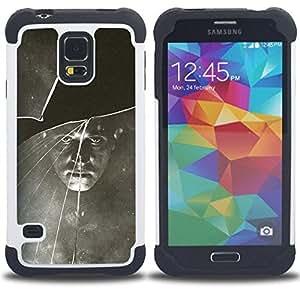 """SAMSUNG Galaxy S5 V / i9600 / SM-G900 - 3 en 1 impreso colorido de Altas Prestaciones PC Funda chaqueta Negro cubierta gel silicona suave (Negro Blanco vintage retro de la foto"""")"""