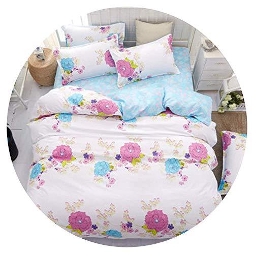 Print Floral Bedding Set Pastoral Style Bed Linens Plaid Duvet Cover Set Flat Sheet 2 Pillowcases 4pcs Set,for,Full,SuperKing,AliceBlue