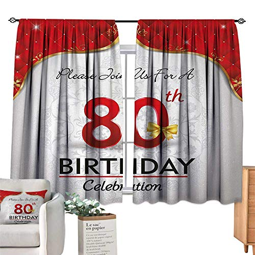 Warm Family Decor Curtains 80th Birthday,Birthday Party Invitation with Abstract Floral Backdrop Elderly,Red Silver and Golden Darkening and Thermal Insulating 55