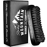 Men's Hair Brush- 100% Pure Black Boar Hair Natural Bristle for Beard, Moustache - Firm Military Style with Handmade Wood Handle - No Snags, No Scratch, Gentle Bristle - Use with Beard Oil