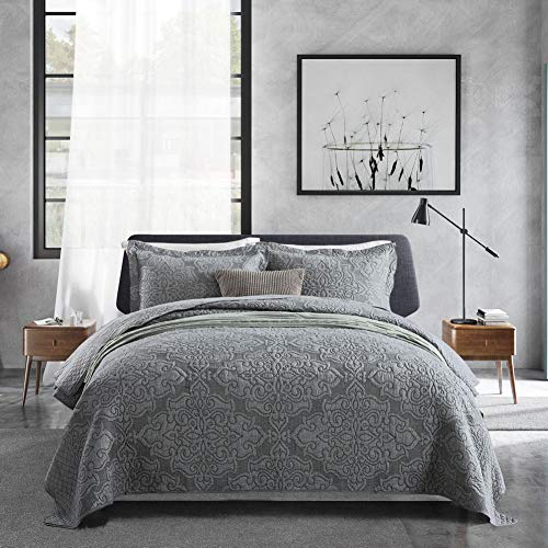 Travan 3-Piece Queen Quilt Set Oversized Microfiber Lightweight Bedspread Coverlet Set, Quilted Set with Shams for All Season (Bedspreads Quilted Thick)