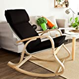 SoBuy Haotian Comfortable Relax Rocking Chair with Foot Rest Design, Lounge Chair, Recliners Poly-cotton Fabric Cushion,FST16 (FST15-SCH)