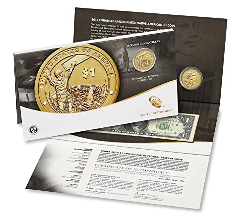 2015 W Sacagawea Coin And Currency Set Enhanced Uncirculated (15RA) $1 Uncirculated US Mint