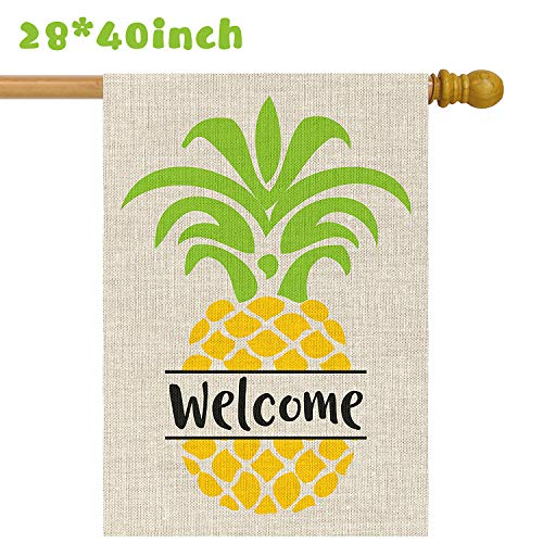 Grobro7 Burlap Garden Flag Large Welcome Home Double Sided with Pineapple Colorful Fruit Yard Flags Decorative for Outdoor Party(28x40 Inch) (House Welcome Pineapple)