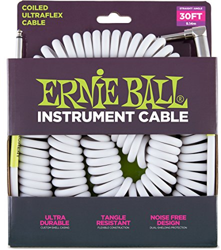 Ernie Ball 6045 Ultraflex 30′ Coiled Straight/Angle Instrument Cable, White
