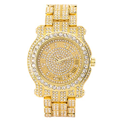Men's 45mm Iced Out Diamond Watch with Cubic Zirconia and Bling-ed Out Metal Strap - Quartz Movement - Adjustable Sizing