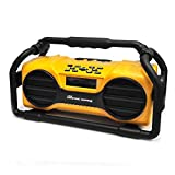 Pyle Industrial BoomBoX Bluetooth Stereo Speaker, Rugged Water-Resistant Radio Boom Box, Rechargeable Battery, MP3/USB/SD/AUX - Yellow
