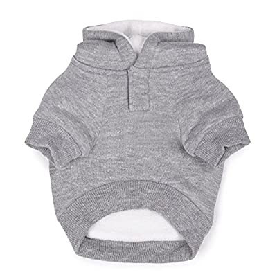 """Zack & Zoey Fleece-Lined Hoodie for Dogs, 14"""" Small/Medium, Gray from PetEdge Dealer Services*"""