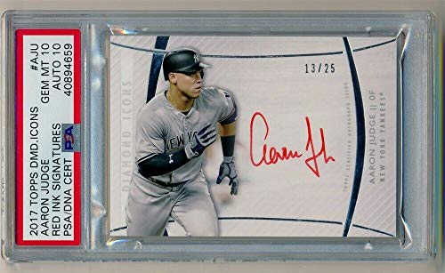 BIGBOYD SPORTS CARDS Aaron Judge /25 PSA 10 Rookie AUTO RED Ink RC 2017 Topps Diamond Icons Autograph