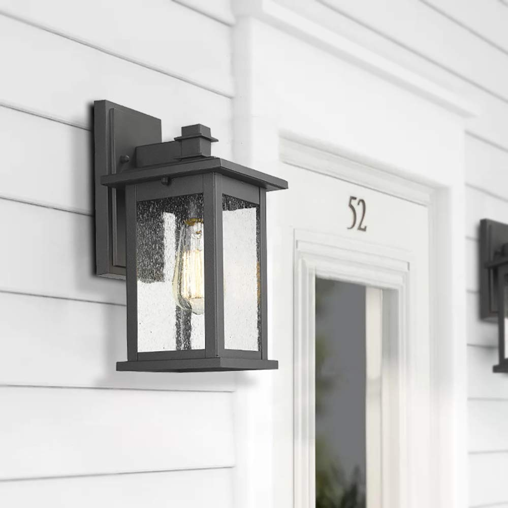 Emliviar Outdoor Wall Mount Lights 2 Pack, 1-Light Exterior Sconces Lantern in Black Finish with Clear Seeded Glass, OS-1803EW1-2PK by EMLIVIAR (Image #5)