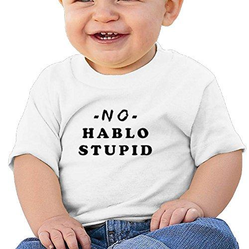 Oswjswj Baby No Hablo Stupid Unisex Infants Crew Neck Short Sleeve Tee 12 Months White -