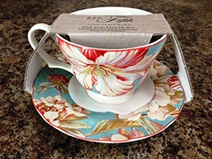 Amazon.com | 222 Fifth Marley Teal Fine China Cup and Saucer set ...