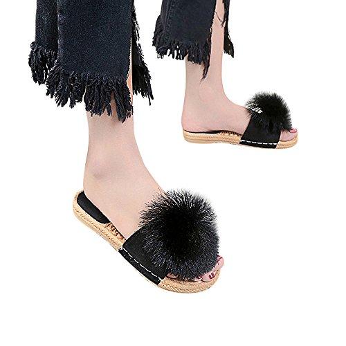 Moda Donna Sexy Palla Styledresser Elegante Spiaggia Tacco Ciabatte Del Estiva Piatto Scarpe Tacchi Da Dito Nero Confortevoli Capelli Pantofola Piede Estate Sandali xUX4pww