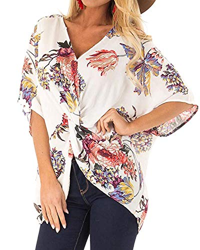 Horyliin Womens Tops 3/4 Sleeve, Ladies Deep V Neck Fashion 2019 Casual Summer Blouses Flare Hem Floral Twist Tops Pleated Front Batwing Shirts White ()