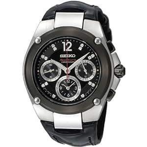 Seiko SRW899P1 - Reloj con correa de piel para hombre, color negro / gris