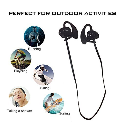 IPX8 Waterproof Bluetooth Headphones Liwithpro Wireless In Ear Sports Earbuds with Microphone and Volume Control for Gym Running Workout Black