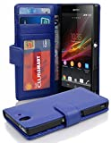 Cadorabo - Book Style Wallet Design for Sony Xperia Z with 2 Card Slots and Money Pouch - Etui Case Cover Protection in NAVY-BLUE