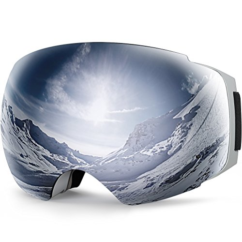 YAKAON Y Series Ski Goggles Snowboard Frameless Spherical UV400 Protection Anti-fog Detachable REVO Mirror Lens for Men and Women Skiing Snowboarding