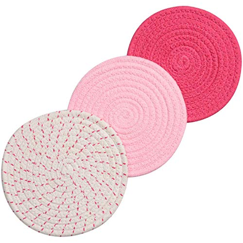 Pink Coaster - Lifaith 100% Cotton Thread Weave Pot Holders, Hot Pads, Pot Holders, Spoon Rest, Jar Opener & Coasters, for Cooking and Baking, Diameter 7 Inches, Round, Set of 3, Pink Set