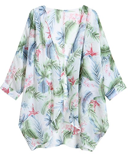 OLRAIN Women's Floral Print Sheer Chiffon Loose Kimono Cardigan Capes (X-Large, Green -