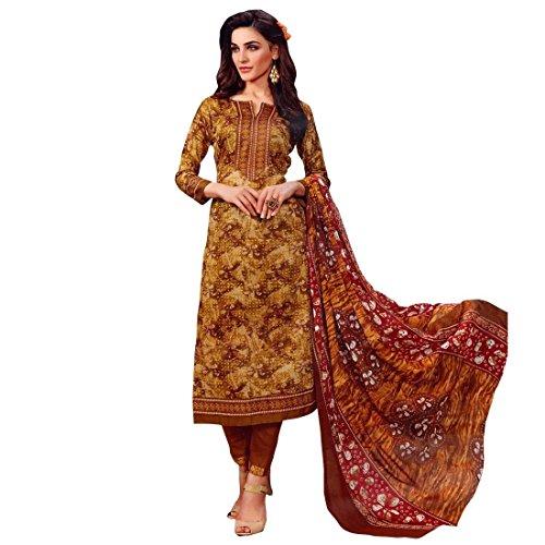 Ready Made Ethnic Beautiful Printed Cotton Salwar Kameez Suit – 0X Plus, Brown