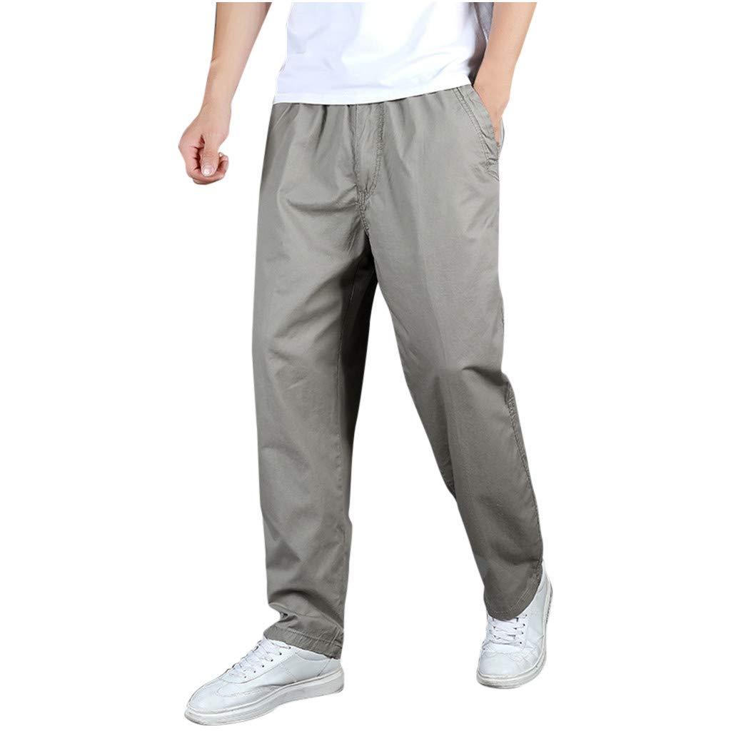 Alueeu Men's Tactical Pants Climbing Pockets Trousers Men's Casual Fashion Loose Pure Color Pocket Comfort Sport Pants Gray by Alueeu Men's