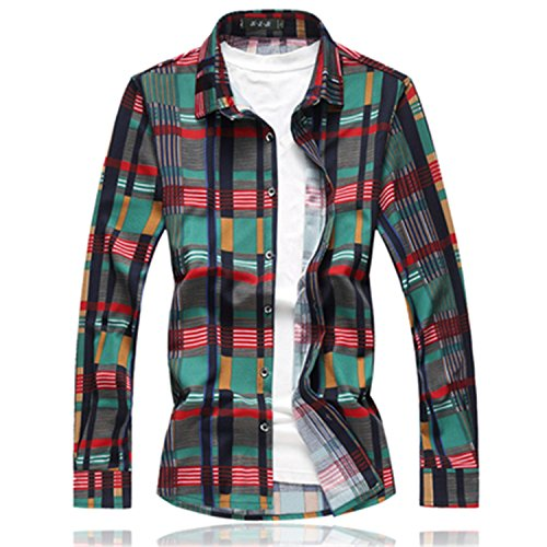 NeeKer Jacket Striped Shirts Mens Long Sleeve Loose Plus Size Casual Men's Social Shirt 7XL 6XL-M 9719 Green 7XL