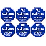Homework2 CCTV Video Surveillance Security Door & Window Stickers, Blue Octagon-Shaped, 3.3 X 3.3 Inch Vinyl Decals - Indoor & Outdoor Use, UV Protected & Waterproof - 6 Labels