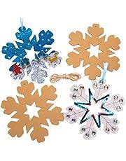 Baker Ross AW900 Glitter 3D sneeuwvlokken krans (10 stuks) -kerstkunst handwerken om te knutselen, gesorteerd