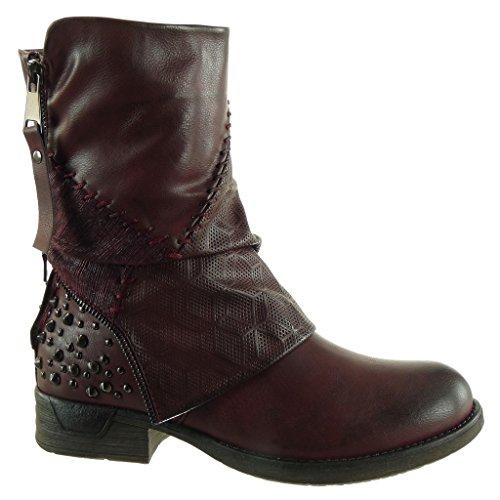 biker Angkorly zip Block CM cavalier 3 Heel Shoes braided studded boots Wine Fashion Ankle Booty Women's HAqYrH