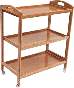 SYTH Kitchen Serving Cart Rolling Bar Buffet Carts,Removable Wood Box Container, Rustic 3-Tier Storage Utility Rolling Equipment Cart