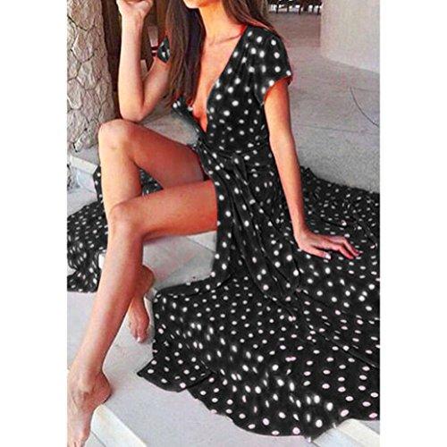 Yesmile 💋💝Vestido de Mujer Falda Negro Vestido Elegante de Noche para Boda Fista Vacaciones Largo Vestido de Coctel del Partido de Boho de Verano Vestido ...